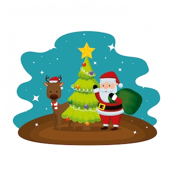 Christmas santa claus with reindeer and pine tree