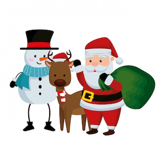 Christmas santa claus with reindeer and snowman