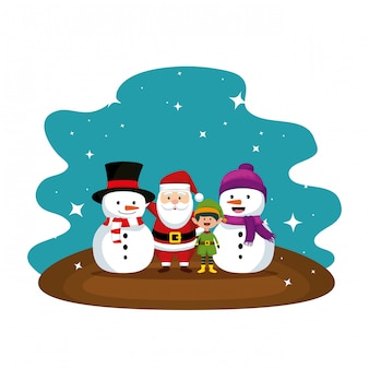 Christmas santa claus with snowman characters