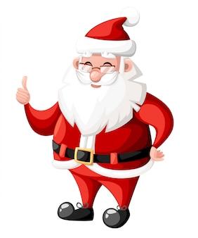 白い背景の赤い帽子休日キャライラストとジェスチャーを親指でクリスマスサンタクロース