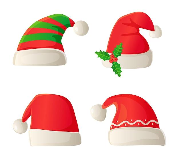 漫画のスタイルで設定されたクリスマスサンタコスチューム帽子
