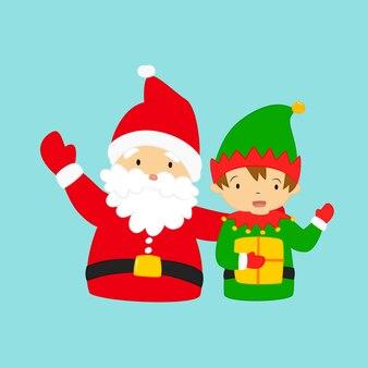 Christmas santa and dwarf vector