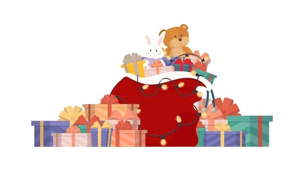 ギフトボックスやギフトバッグがいっぱいのクリスマスサンタギフトバッグ