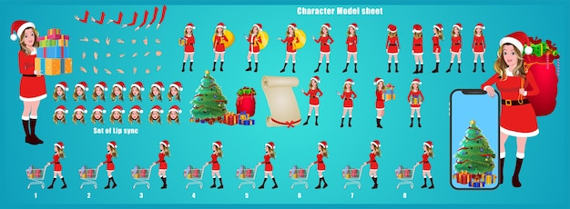 Christmas santa girl character design model sheet with walk cycle, lip sync, christmas tree and gift