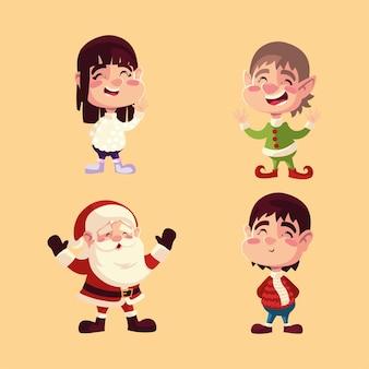 Рождественский санта-помощник мальчик и девочка мультипликационные персонажи иллюстрации