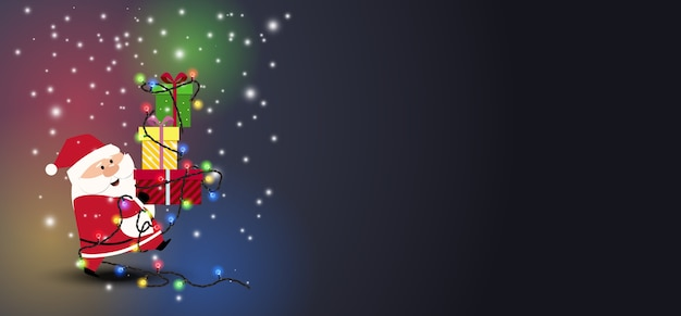 Рождественский санта на темном фоне.