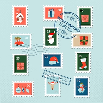Christmas santa postage stamps for greeting card