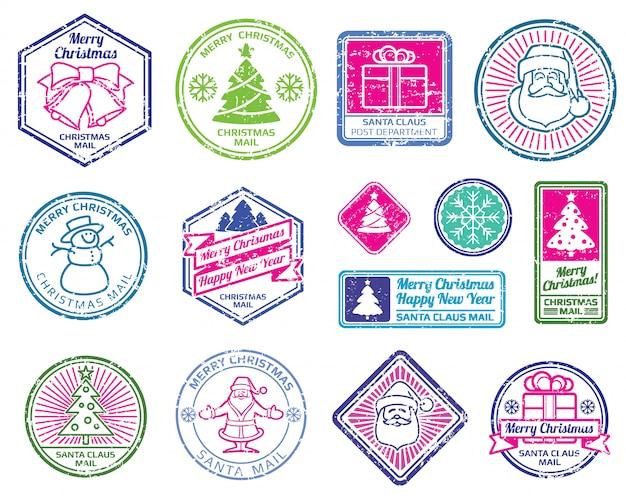 Christmas santa postage stamps