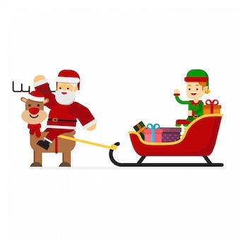Christmas santa riding a sleigh reindeer with elf