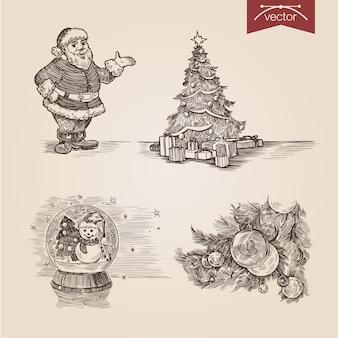 Рождественский санта набор рисованной гравюры