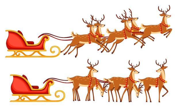 Рождественские сани и группа оленей. иллюстрация на белом фоне. красные деревянные сани с летающим мифическим оленем