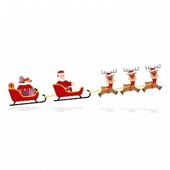 クリスマスサンタ、そり、トナカイ、プレゼント Premiumベクター