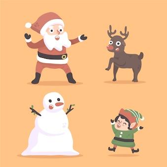 Рождество санта, снеговик, гном, эльф и олень