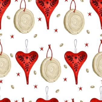 Рождественские скандинавские природные украшения деревянные вырезать и красное сердце акварель бесшовные модели