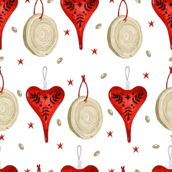 Christmas scandinavian natural decorations wooden cut and red heart watercolor seamless pattern