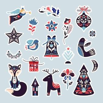 크리스마스 스칸디나비아 스티커 컬렉션