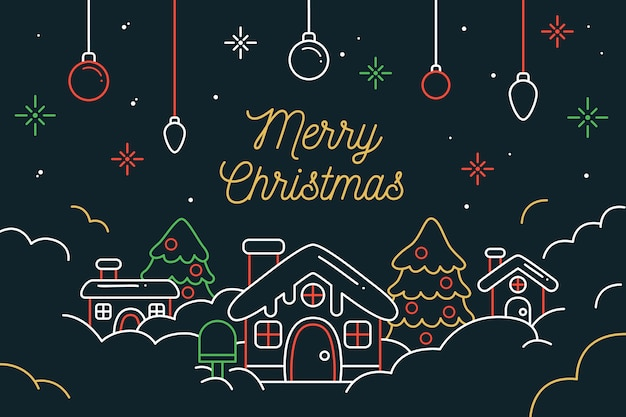 Christmas scene background in outline style