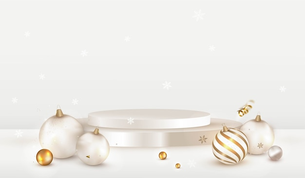 Дизайн рождественской сцены с белым подиумом и украшениями из безделушек