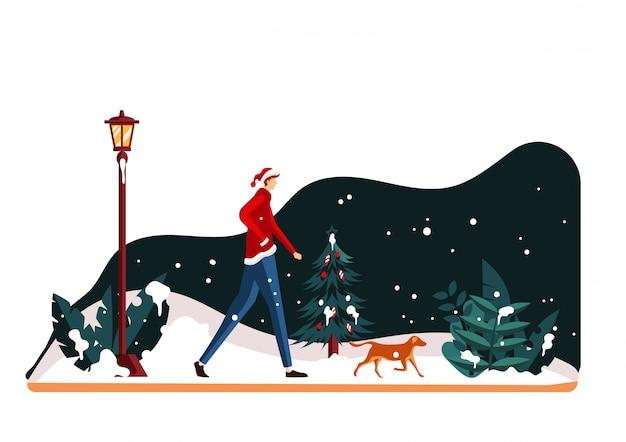 Christmas scene flat illustration
