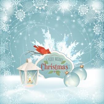 Рождественская сцена с птицей и фонарем