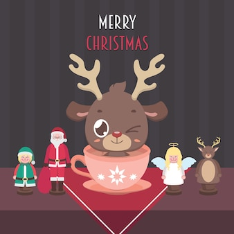 귀여운 순록과 나무 인형 크리스마스 장면