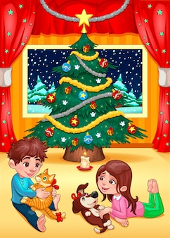 Christmas scene with children and pets cartoon vector illustration