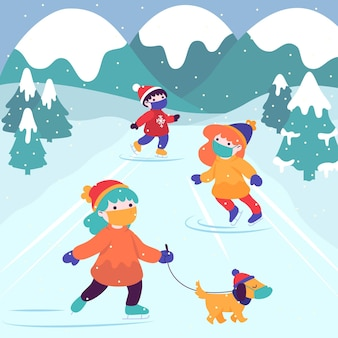 Christmas scene with people iceskating and wearing masks