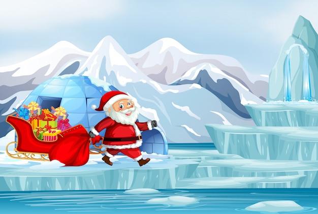 サンタとプレゼントのイラストとクリスマスシーン