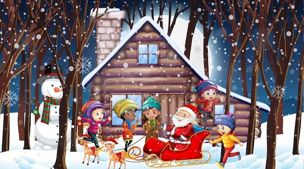 Christmas scene with santa and many kids