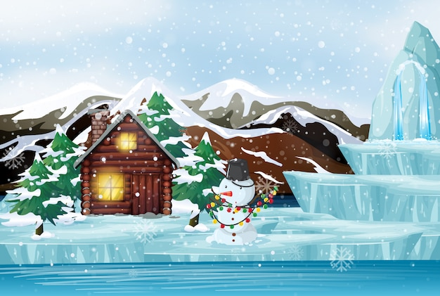 Christmas scene with snowman and cottage