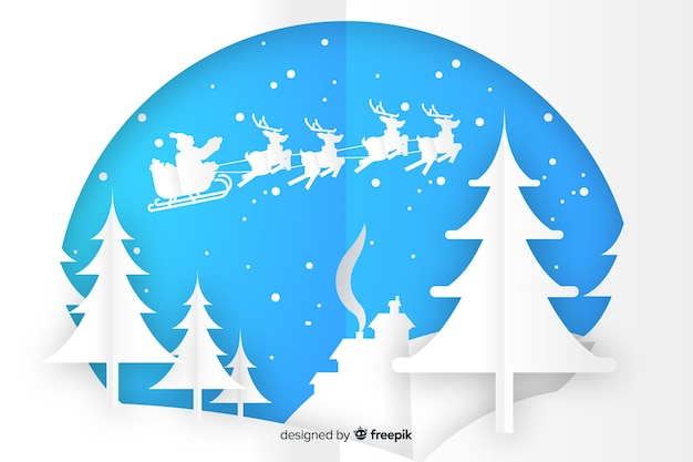 Christmas scenery in paper style