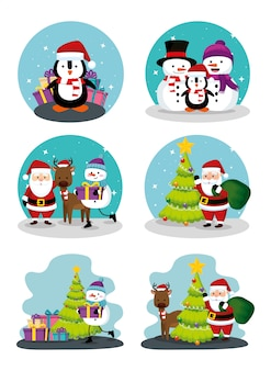 Christmas scenes with icons set
