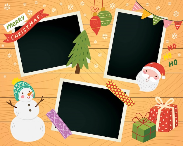 Christmas scrapbook with photo frame