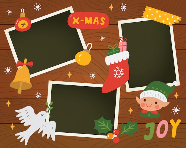 Christmas scrapbook with photo templates