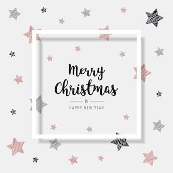 クリスマスの落書きの星がゴールドカードをバラ