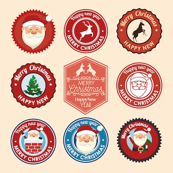 Christmas seals with icons set