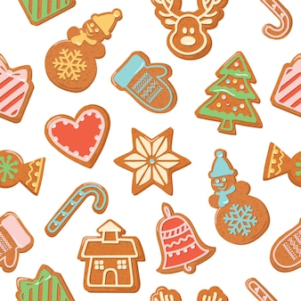 Christmas seamless background. colorful gingerbread cookies.