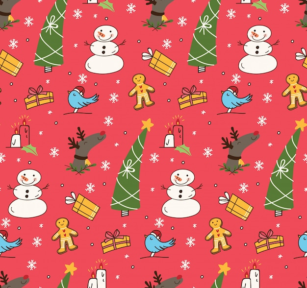 Christmas seamless background in doodle style illustration
