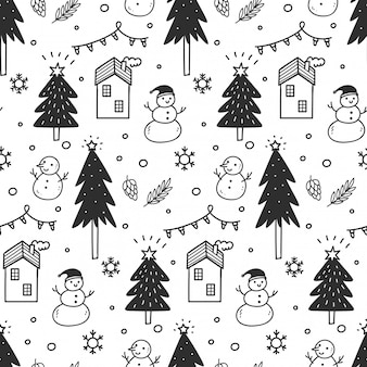 Christmas seamless background in doodle style