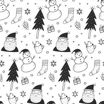 落書きスタイルでクリスマスのシームレスな背景