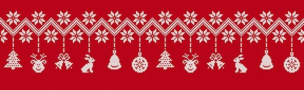 Рождественский фон. вяжем красным узором. векторная иллюстрация.