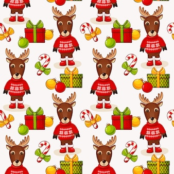 Christmas seamless background with deers.  pattern.