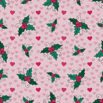 ミスレーとハートのクリスマスシームレスな背景。ベクトル新年包装紙