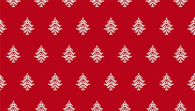 木々とクリスマスのシームレスな背景。ニットの赤いパターン。