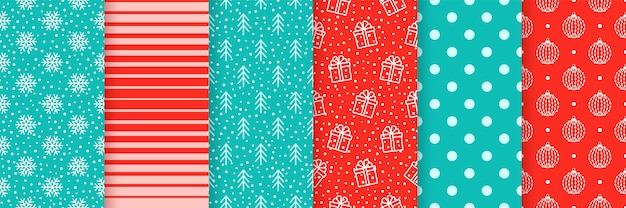 Christmas seamless backgrounds. xmas new year pattern. set festive textures. illustration