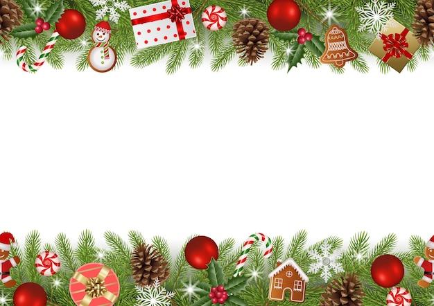 Рождественская бесшовная граница с сосновыми ветками, пряниками и украшениями