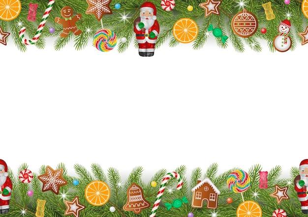 Рождественская бесшовная граница с сосновыми ветками, имбирными пряниками, шоколадным санта-клаусом, конфетами, дольками апельсина и леденцами