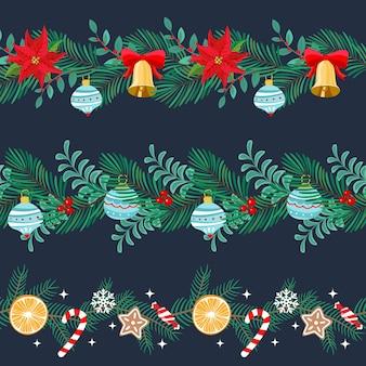 Рождественские бесшовные бордюры с праздничными элементами