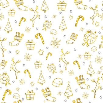 Christmas seamless cute golden pattern