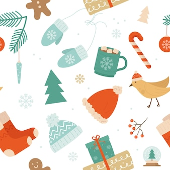 Christmas seamless cute pattern with xmas winter decoration